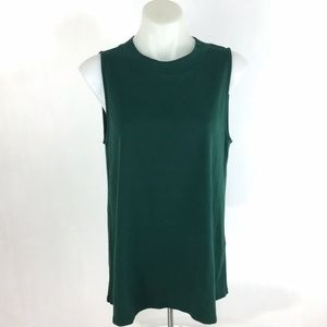 Three Dots Tank Top Green Sleeveless Cotton